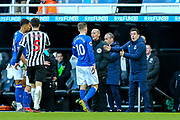 Everton manager Marco Silva issues instructions to Gylfi Sigurdsson (#10) of Everton during the Premier League match between Newcastle United and Everton at St. James's Park, Newcastle, England on 9 March 2019.