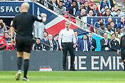 Manchester United Manager Jose Mourinho shouts at referee Anthony Taylor during the The FA Cup Semi Final match between Manchester United and Tottenham Hotspur at Wembley Stadium, London, England on 21 April 2018. Picture by Phil Duncan.