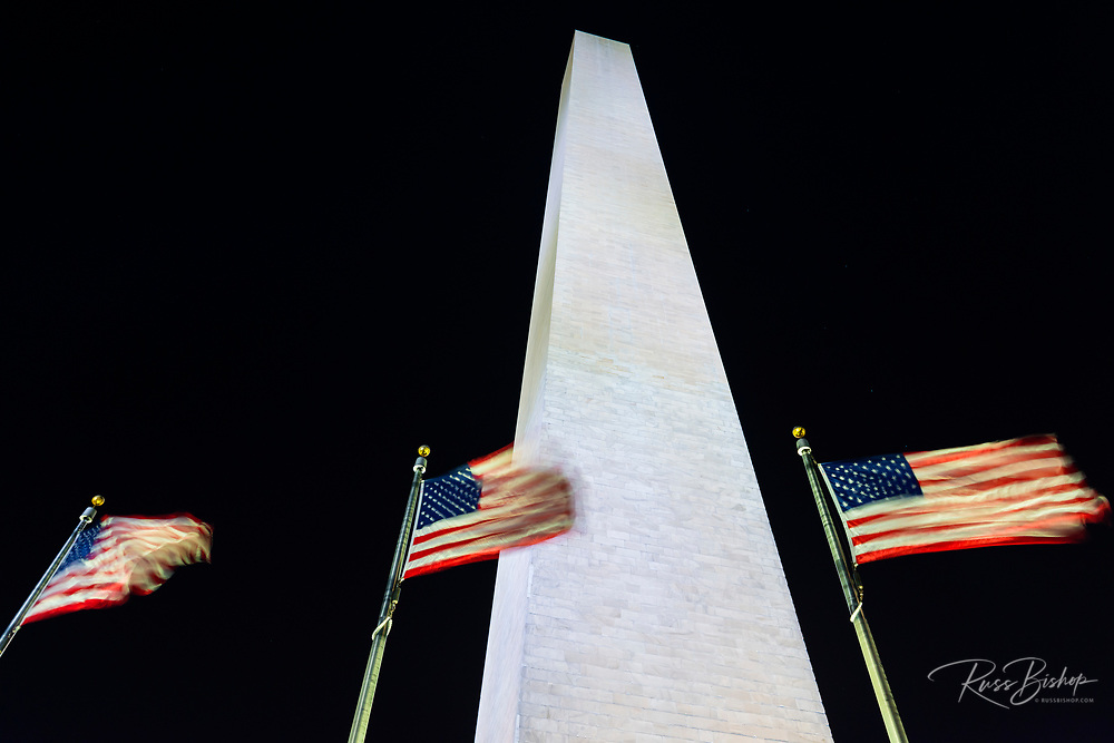 The Washington Monument at night, Washington, DC USA