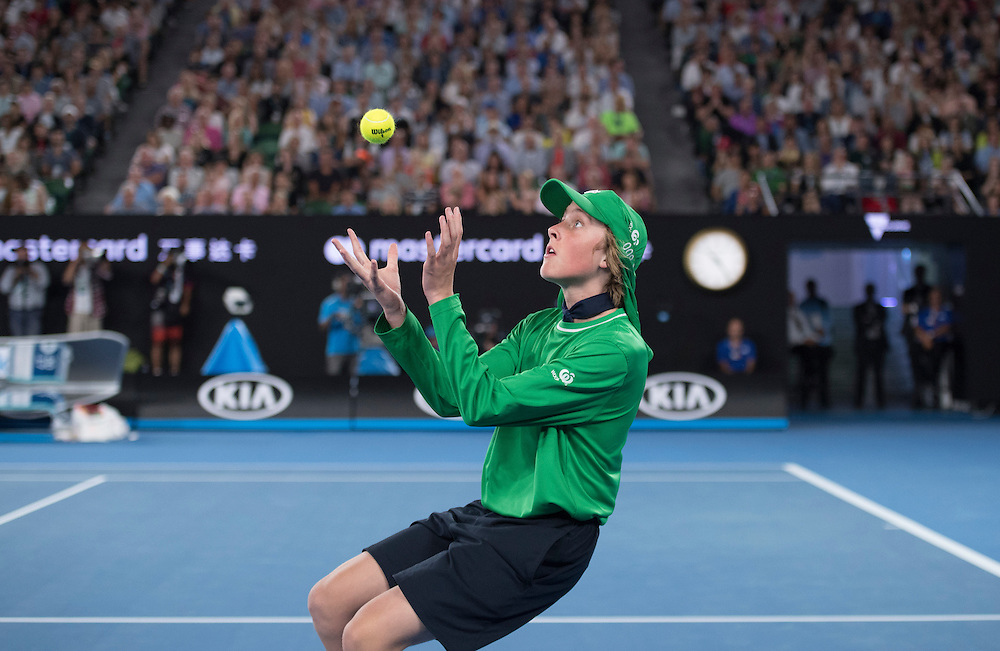 A ball kid during the men's final on day fourteen of the 2017 Australian Open at Melbourne Park on January 29, 2017 in Melbourne, Australia.<br /> (Ben Solomon/Tennis Australia)