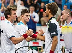 05.04.2014, Aegon Arena, Bratislava, SVK, ITF, Davis Cup, Slowakei vs Oesterreich, 2. Runde, Europa-Afrika-Zone I, im Bild v.l. Alexander Peya (AUT), Dominic Thiem (AUT), Martin Klizan (SVK) und Michal Mertinak (SVK) // v.l. Alexander Peya (AUT), Dominic Thiem (AUT), Martin Klizan (SVK) und Michal Mertinak (SVK) during the 2nd round of Europe Africa zone one of ITF Davis Cup between Slovakia and Austria at the Aegon Arena in Bratislava, Slovakia on 2014/04/05. EXPA Pictures © 2014, PhotoCredit: EXPA/ Michael Gruber