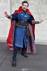 © Licensed to London News Pictures. 25/05/2018. LONDON, UK.  A cosplayer as Doctor Strange attends MCM Comic Con at Excel in East London.   Thousands of fans of video games, comic books and other popular character take the opportunity to dress up as their favourite characters.  Photo credit: Stephen Chung/LNP
