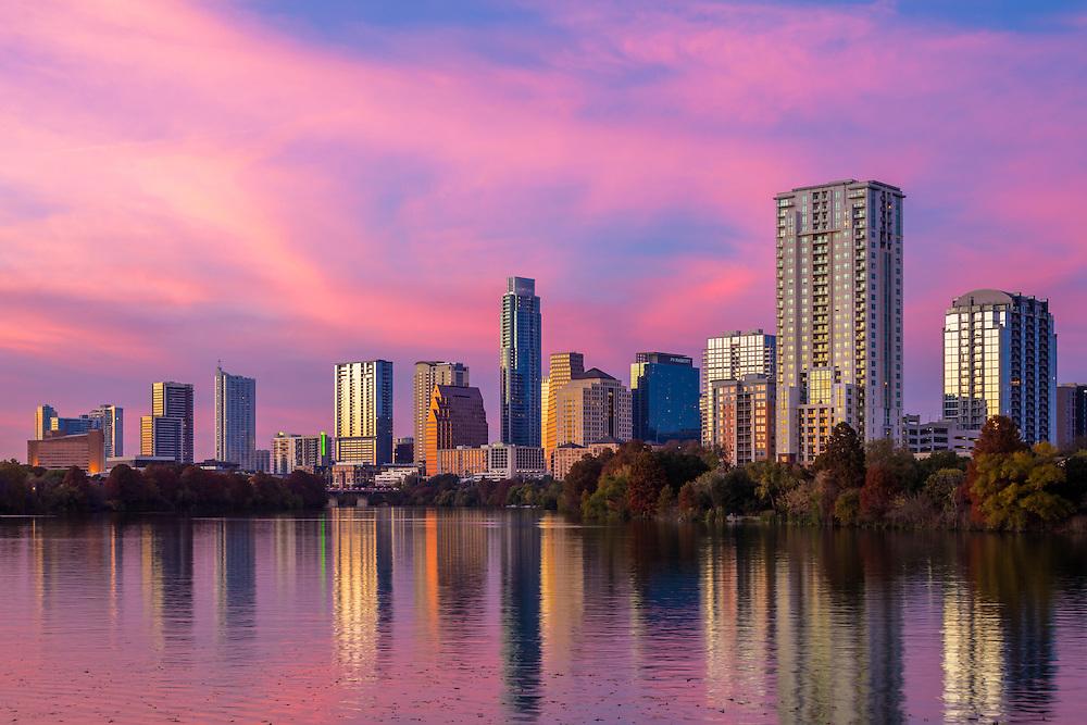Austin Texas Downtown Sunset