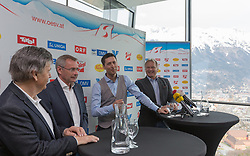 03.04.2018, Bergiselschanze, Innsbruck, AUT, Pressekonferenz ÖSV Ski Nordisch, im Bild v.l.: ÖSV-Präsident Prof. Peter Schroecksnadel, der scheidende Sportliche Leiter für Sprunglauf und Nordische Kombination Ernst Vettori, der neue Sportliche Leiter für Sprunglauf und Nordische Kombination Mario Stecher und ÖSV-Sportdirektor Hans Pum // during a press conference of the Austrian Ski Association (ÖSV), jumping and nordic combined at the Bergiselschanze in Innsbruck, Austria on 2018/04/03. EXPA Pictures © 2018, PhotoCredit: EXPA/ Jakob Gruber