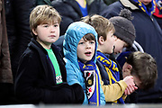 Young AFC Wimbledon fans during the The FA Cup 3rd round match between Tottenham Hotspur and AFC Wimbledon at Wembley Stadium, London, England on 7 January 2018. Photo by Matthew Redman.