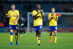 Rob Kiernan, Emmerson Boyce and William Kvist of Wigan look frustrated as they applaud the away fans after a 0-0 draw - Photo mandatory by-line: Rogan Thomson/JMP - 07966 386802 - 16/09/2014 - SPORT - FOOTBALL - Huddersfield, England - The John Smith's Stadium - Huddersfield Town v Wigan Athletic - Sky Bet Championship.