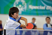 TABLE TENNIS COMPETITION AT SGGW ARENA, WARSAW..SPECIAL OLYMPICS EUROPEAN SUMMER GAMES - WARSAW 2010..THE IDEA OF SEPCIAL OLYMPICS IS THAT, WITH APPROPRIATE MOTIVATION AND GUIDANCE, EACH PERSON WITH INTELLECTUAL DISABILITIES CAN TRAIN, ENJOY AND BENEFIT FROM PARTICIPATION IN INDIVIDUAL AND TEAM COMPETITIONS...WARSAW , POLAND , SEPTEMBER 19, 2010..MANDATORY CREDIT:.PHOTO BY ADAM NURKIEWICZ / MEDIASPORT