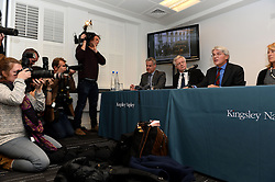 Former chief whip Andrew Mitchell speaks to press in Farringdon to give his reaction on the Crown Prosecution Service's decision on the 'Plebgate' row, accompanied by his wife, Dr Sharon Bennett,  David Davies MP and Stephen Parkinson.  Tuesday, 26th November 2013. Picture by Ben Stevens / i-Images