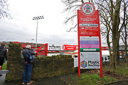 A fan taking a photograph of the stadium during the The FA Cup fourth round match between Accrington Stanley and Derby County at the Fraser Eagle Stadium, Accrington, England on 26 January 2019.