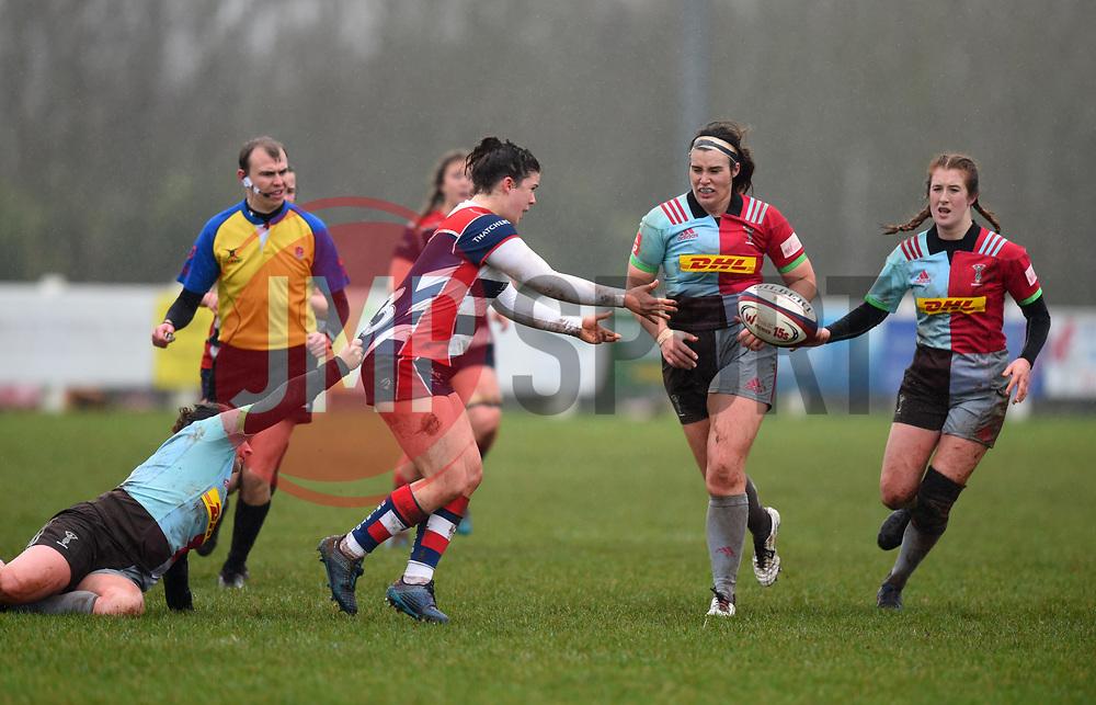 Phoebe Murray of Bristol Ladies off-loads the ball - Mandatory by-line: Paul Knight/JMP - 03/02/2018 - RUGBY - Cleve RFC - Bristol, England - Bristol Ladies v Harlequins Ladies - Tyrrells Premier 15s
