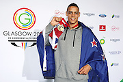 David Nyika of New Zealand poses with his gold medal after winning the Mens Light Heavyweight 81kg final. Glasgow 2014 Commonwealth Games. Athletics, Hampden Park, Glasgow, Scotland. Saturday 2 August 2014. Photo: Anthony Au-Yeung / photosport.co.nz