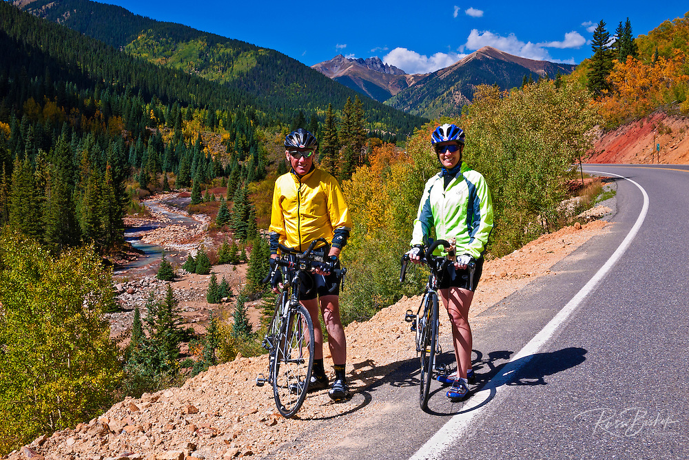 Cyclists on the San Juan Skyway (Highway 550), San Juan National Forest, Colorado
