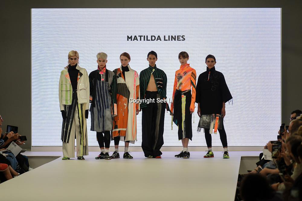 Designer Matilda Lines showcases lastest collection of Bath Spa University at the Graduate Fashion Week 2018, 4 June 4 2018 at Truman Brewery, London, UK.