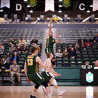 4th year outside hitter Dalton Wolfe (9) of the Regina Cougars in action during Men's Volleyball home game on November 3 at Centre for Kinesiology, Health and Sport. Credit: Arthur Ward/Arthur Images