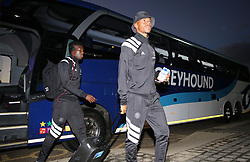 17032018 (Durban) Orlando Pirates players leaving the bus before their match against Golden Arrows at Princess Magogo stadium<br /> Picture: Motshwari Mofokeng/African News Agency/ANA