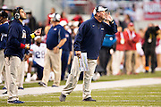 FAYETTEVILLE, AR - OCTOBER 31:  Head Coach Jason Simpson of the UT Martin Skyhawks yells to his team from the sidelines during a game against the Arkansas Razorbacks at Razorback Stadium on October 31, 2015 in Fayetteville, Arkansas.  The Razorbacks defeated the Skyhawks 63-28.  (Photo by Wesley Hitt/Getty Images) *** Local Caption *** Jason Simpson