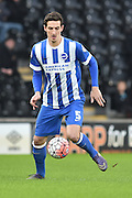 Brighton central defender, Lewis Dunk (5) during the The FA Cup match between Hull City and Brighton and Hove Albion at the KC Stadium, Kingston upon Hull, England on 9 January 2016. Photo by Ian Lyall.