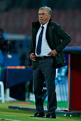 NAPLES, ITALY - Wednesday, October 3, 2018: Napoli's head coach Carlo Ancelotti during the UEFA Champions League Group C match between S.S.C. Napoli and Liverpool FC at Stadio San Paolo. (Pic by David Rawcliffe/Propaganda)