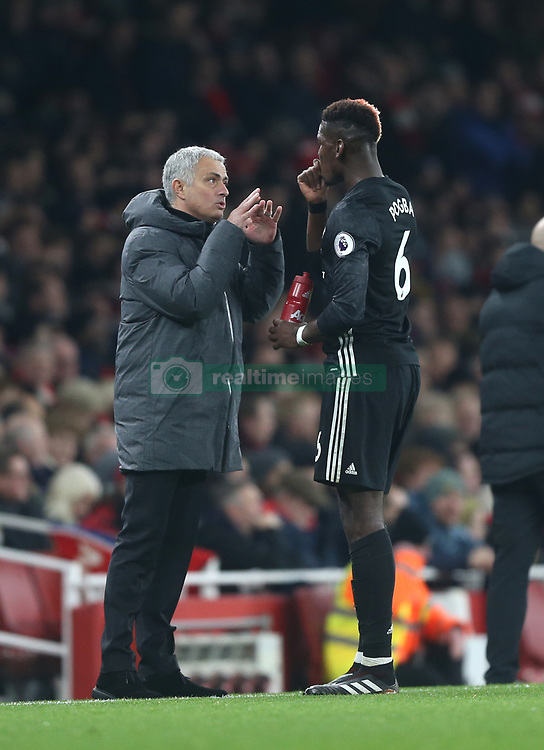 02 December 2017 London : Premier League Football : Arsenal v Manchester United - United manager Jose Mourinho talks to Paul Pogba.<br /> (photo by Mark Leech)
