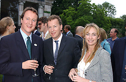 Left to right, DAVID CAMERON MP, ORLANDO FRASER and CLEMENTINE HAMBRO at the No Campaign's Summer Party - a celebration of the 'Non' and 'Nee' votes in the Europen referendum in France and The Netherlands held at The Peacock House, 8 Addison Road, London W14 on 5th July 2005.<br />