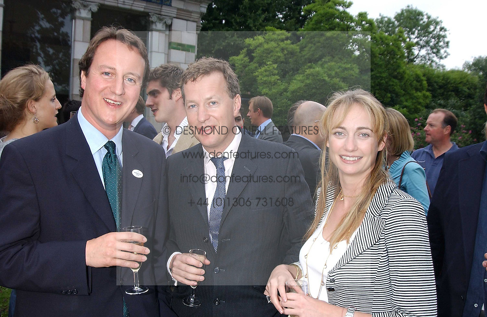 Left to right, DAVID CAMERON MP, ORLANDO FRASER and CLEMENTINE HAMBRO at the No Campaign's Summer Party - a celebration of the 'Non' and 'Nee' votes in the Europen referendum in France and The Netherlands held at The Peacock House, 8 Addison Road, London W14 on 5th July 2005.<br /><br />NON EXCLUSIVE - WORLD RIGHTS