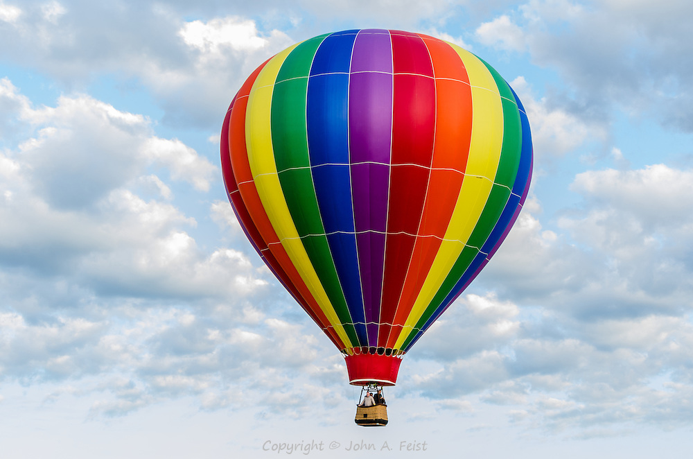 A wonderful way to see the countryside, a hot air balloon over Somerset county New Jersey.  Fortunately the blue sky and clouds make for a very nice background.