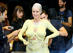 Heidi Klum is getting ready for Halloween at the window of the Amazon store near The Empire State Building in New York, NY on October 31, 2019.<br /> Photo by Dylan Travis/ABACAPRESS