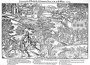 French Religious Wars 1562-1598.  Amboise Enterprise or Conspiracy March 1560. Jean du Barry, seigneur de La Renaudie (?-1560), A, French Huguenot leader of plot against Guise faction, killed in a fight with their partisans. Engraving by Jacques Tortorel (fl1568-1590) and Jean-Jacques Perrissin (c1536-1617) from their series on the Huguenot Wars.
