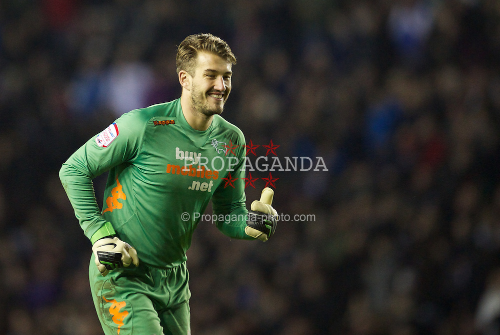 DERBY, ENGLAND - Saturday, January 5, 2013: Derby County's goalkeeper Adam Legzdins in action against Tranmere Rovers during the FA Cup 3rd Round match at Pride Park. (Pic by David Rawcliffe/Propaganda)