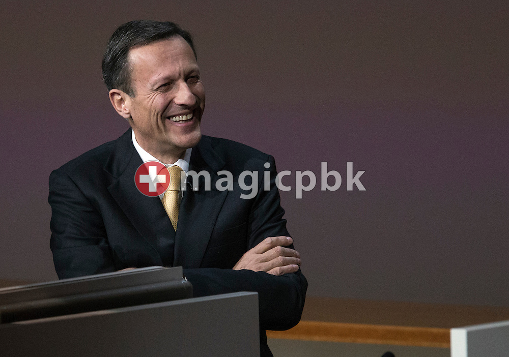 Daniel Vasella, Chairman of the Board, of Swiss pharmaceutical group Novartis, is listening to a shareholders speech during the general assembly at the St. Jakobshalle in Basel, Switzerland, Friday, February 22, 2013. (Photo by Patrick B. Kraemer / MAGICPBK)