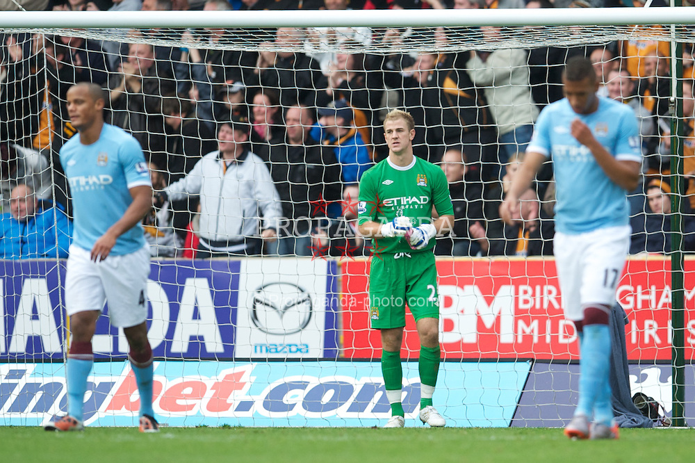 WOLVERHAMPTON, ENGLAND - Saturday, October 30, 2010: Manchester City's goalkeeper Joe Hart looks dejected as Wolverhampton Wanderers score the second goal during the Premiership match at Molineux. (Pic by: David Rawcliffe/Propaganda)