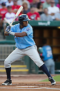 Jorge Bonifacio (16) of the Northwest Arkansas Naturals stands at bat during a game against the Springfield Cardinals at Hammons Field on August 23, 2013 in Springfield, Missouri. (David Welker)