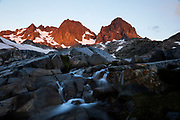 Sunrise landscape shot of Banner and Ritter peaks with stream at Nydiver Lake in the Ansel Adams Wilderness. High Sierra backpacking trip to Garnet Lake and Nydiver Lake in the Ansel Adams Wilderness out of Devil's Postpile national monument 2017.