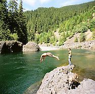 Diving into the Clackamas River near Estacada, Oregon