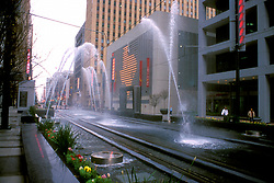 Stock photo of the fountains along the rail tracks in downtown Houston, Texas