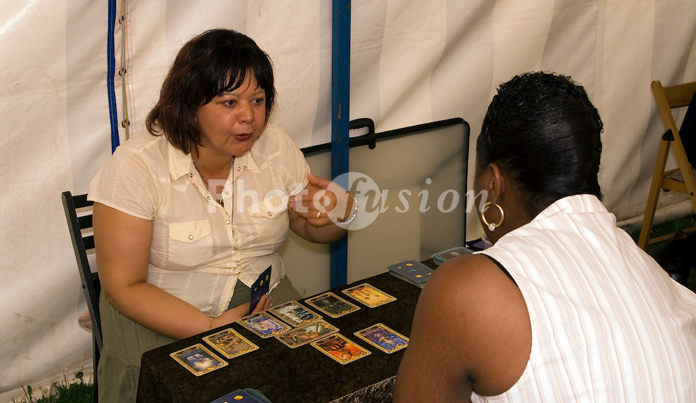 Tarot reading at Lambeth Country Show; Brockwell Park; South London July 2006 UK