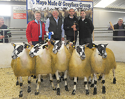 Tom Staunton picked up 2nd place with his Mule Ewe Lambs at the Mayo Mule and Greyface Premier Show and sale at Ballinrobe on friday last.<br />Tj Gormally (Cormac Tagging) Brian Matthews Show Judge and David Prendergast (Ioml&aacute;n Animal Science Sponsor)<br />Pic Conor McKeown