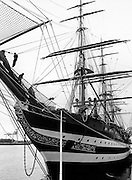 Sailors in the rigging of the Italian Training Ship Amerigo Vespucii in port, Dublin.<br />