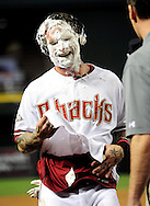 Sep. 27 2011; Phoenix, AZ, USA; Arizona Diamondbacks infielder Ryan Roberts (24) gets shaving cream in his face after hitting a walk off grand slam during the tenth inning against the Los Angeles Dodgers at Chase Field. The Diamondbacks defeated the Dodgers 7-6 in extra innings.  Mandatory Credit: Jennifer Stewart-US PRESSWIRE.