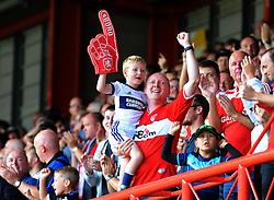 Middlesbrough fans celebrate their sides second goal - Mandatory by-line: Nizaam Jones/JMP- 18/08/2018 - FOOTBALL - Ashton Gate Stadium - Bristol, England - Bristol City v Middlesbrough - Sky Bet Championship
