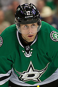 DALLAS, TX - OCTOBER 17:  Rich Peverley #17 of the Dallas Stars looks on against the San Jose Sharks on October 17, 2013 at the American Airlines Center in Dallas, Texas.  (Photo by Cooper Neill/Getty Images) *** Local Caption *** Rich Peverley
