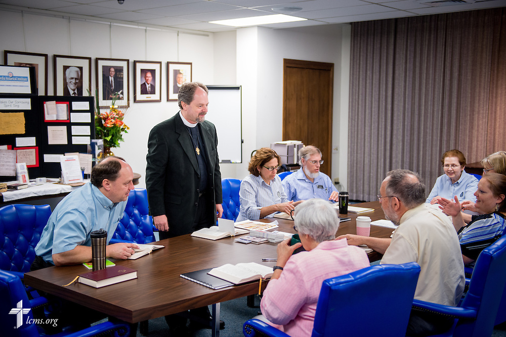 The Rev. Dr. Daniel Harmelink, executive director of Concordia Historical Institute (CHI), leads a staff meeting Monday, July 21, 2014, in their offices on the campus of Concordia Seminary in Clayton, Mo.  LCMS Communications/Erik M. Lunsford