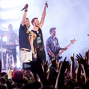 November 14, 2013 - New York, NY : The country music duo Florida Georgia Line comprised of Tyler Hubbard, center, left, and Brian Kelley, center, perform in front of a packed house at the Best Buy Theater in Times Square in Manhattan on Thursday night. <br /> CREDIT: Karsten Moran for the New York Times