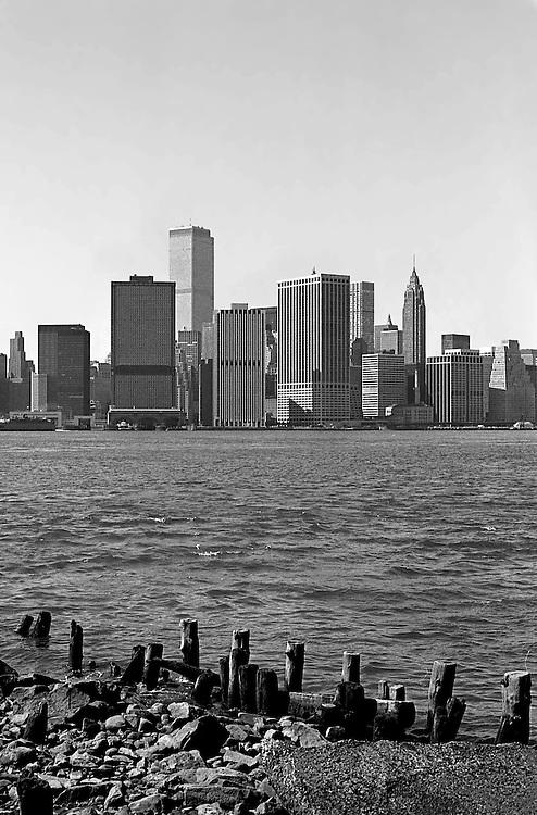 Broken down docks in Red Hook, Brooklyn, looking towards Manhattan.