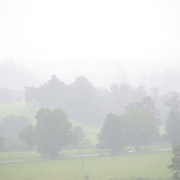 A view of a misty valley in Bellingen in north central New South Wales