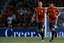 September 11, 2018 - Alicante, Alicante, Spain - Saul Niguez (L) of Spain celebrates a goal next to his teammate Nacho Fernandez Iglesias during the UEFA Nations League A group four match between Spain and Croatia at Martinez Valero  on September 11, 2018 in Elche, Spain  (Credit Image: © David Aliaga/NurPhoto/ZUMA Press)