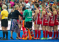 The England team is presented to HRH The Countess of Wessex. England v The Netherlands - Final Unibet EuroHockey Championships, Lee Valley Hockey & Tennis Centre, London, UK on 30 August 2015. Photo: Simon Parker