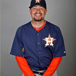 Feb 21, 2013; Kissimmee, FL, USA; Houston Astros bullpen catcher Javier Bracamonte (85) during photo day at Osceola County Stadium. Mandatory Credit: Derick E. Hingle-USA TODAY Sports
