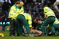 'Twickenham - Saturday, February 27th, 2010: Brian O'Driscoll of Ireland is loaded onto a stretcher during the RBS Six Nations match between England and Ireland at Twickenham. (Pic by Andrew Tobin/Focus Images)