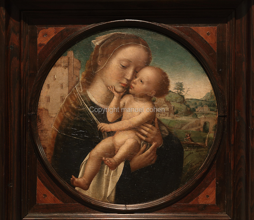 Virgin and Child, tondo painting, 1505-10, by Adriaen Isenbrant, 1490-1551, painted for Bishop Jorge de Almeida and his Paso Episcopal de Coimbra, now the Museu Nacional de Machado de Castro, Coimbra, Portugal. The museum was opened in 1913 and renovated 2004-2012. The city of Coimbra dates back to Roman times and was the capital of Portugal from 1131 to 1255. Its historic buildings are listed as a UNESCO World Heritage Site. Picture by Manuel Cohen